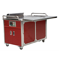 Mobile Teppanyaki Table with Anti Glass Guar