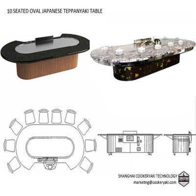Oval Teppanyaki Table Equipment For Commercial